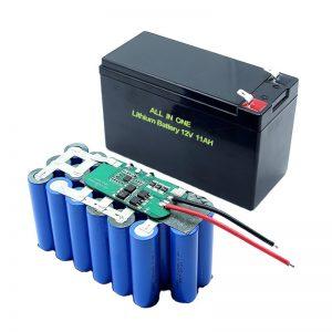 ALL IN ONE 18650 3S5P 12 ولت باتری لیتیوم 11 آمپر باتری لیتیوم قابل شارژ