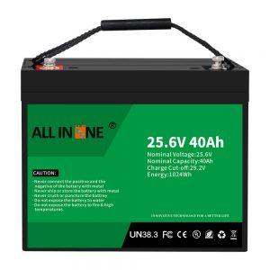 25.6 ولت 40Ah لیتیوم آهن فسفات باتری/تعویض