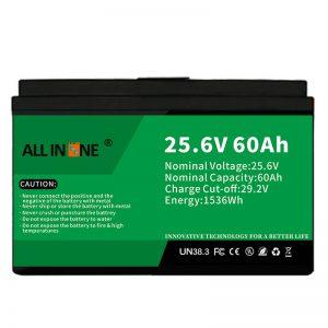 25.6V 60Ah ایمنی/عمر طولانی LFP باتری برای RV/Caravan/UPS/Golf Cart 24V 60Ah