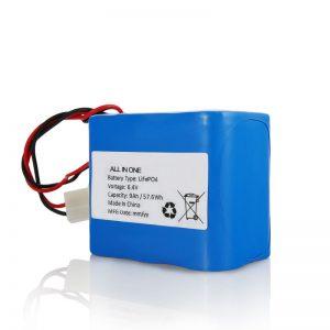 6.4V 12Ah LiFePO4 شارژ لیتیوم 26650 32650 بسته باتری با اتصال برای نور خورشید